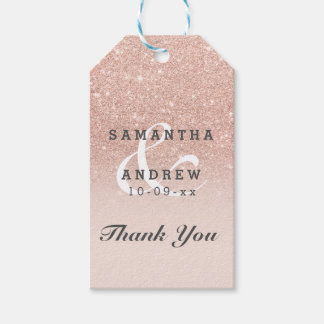 Rose gold faux glitter pink ombre wedding favor pack of gift tags
