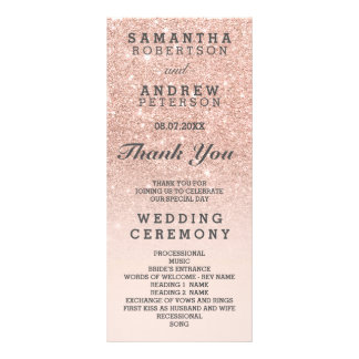 Rose gold faux glitter pink ombre wedding program custom rack cards