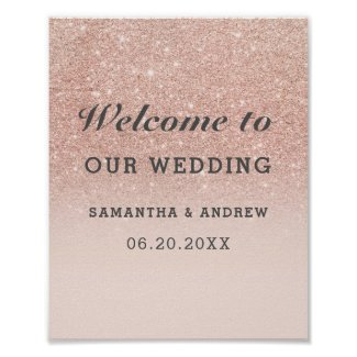 Rose gold faux glitter pink ombre wedding welcome poster
