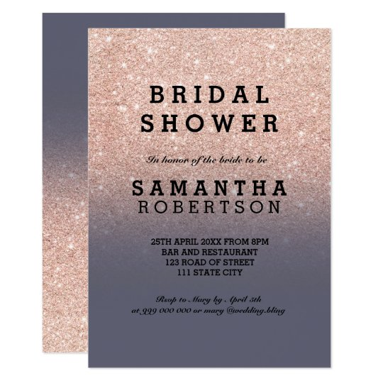 Rose gold faux glitter purple grey bridal shower card