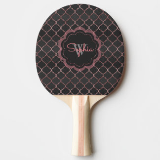 Rose gold faux glitter quatrefoil pattern ping pong paddle