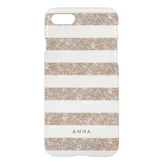 Rose Gold Faux Glitter Stripe iPhone 8/7 Case