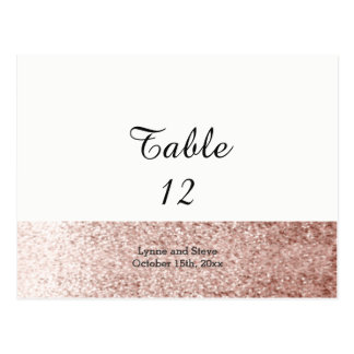 Rose Gold Faux Glitter Table Seating Card
