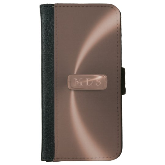 Rose Gold Faux Name Plate iPhone Wallet Case