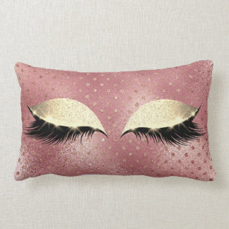 Rose Gold Faux  Sepia Beauty Glitter Makeup Lumbar Pillow