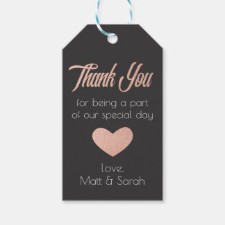 Rose Gold Favour Tag- Wedding Thank You Pack Of Gift Tags
