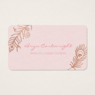 Rose Gold Feather Blush Romance Business Cards