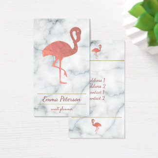 rose gold flamingo on white marble business card