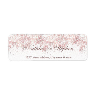 Rose gold floral doodles confetti wedding