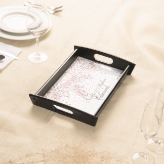 Rose gold floral doodles confetti wedding serving tray