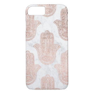 Rose gold floral lace hamsa hand white marble iPhone 8/7 case
