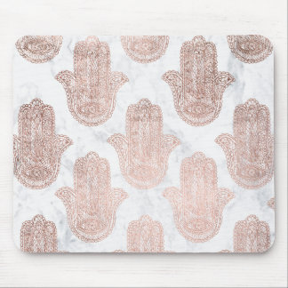 Rose gold floral lace hamsa hand white marble mouse pad