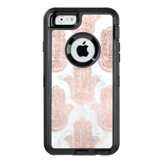 Rose gold floral lace hamsa hand white marble OtterBox defender iPhone case