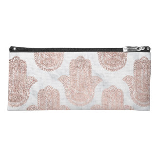 Rose gold floral lace hamsa hand white marble pencil case