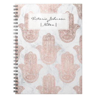 Rose gold floral lace hamsa hand white marble spiral notebook