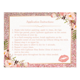 Rose Gold Floral Makeup Lips Instruction Tips Postcard