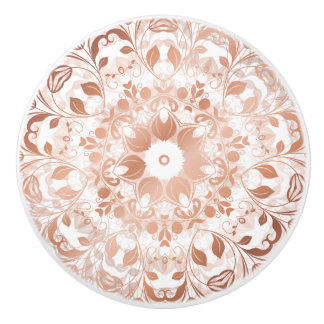 Rose Gold Floral Mandala Ceramic Knob