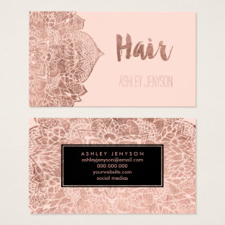 Rose gold floral mandala hair typography blush business card