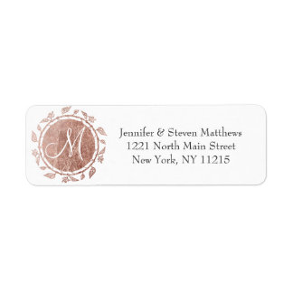 Rose Gold Floral Monogram Initials and Name Labels