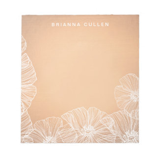 Rose Gold Floral Name Notepad
