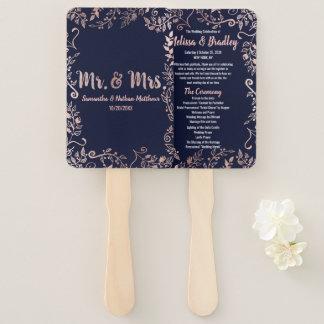 Rose Gold Floral Navy Blue Brush Script Program Hand Fan