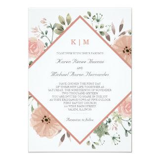 Rose Gold Floral Wedding Invitation