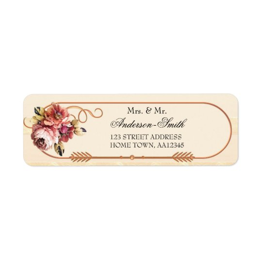 Rose Gold Floral Wedding Return Address Label