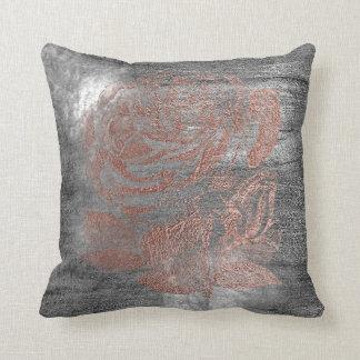 Rose Gold Flower Gray Grungy Metallic Silver Wall Throw Pillow