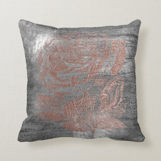 Rose Gold Flower Grey Grungy Metallic Silver Wall Throw Pillow