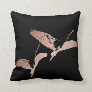 Rose Gold Flying Flamingo Throw Pillow