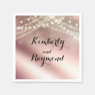 Rose Gold Foil and Lights Dreamy Romantic Napkin