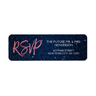 Rose Gold Foil and Navy Blue RSVP Return Address