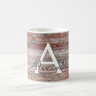 Rose Gold Foil and Rustic Wood Monogram & Initial Coffee Mug