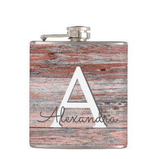 Rose Gold Foil and Rustic Wood Monogram & Initial Hip Flask