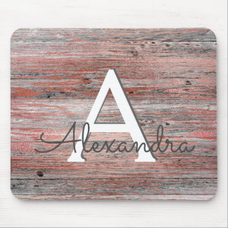 Rose Gold Foil and Rustic Wood Monogram Mouse Pad
