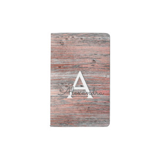 Rose Gold Foil and Rustic Wood Monogram Notebook