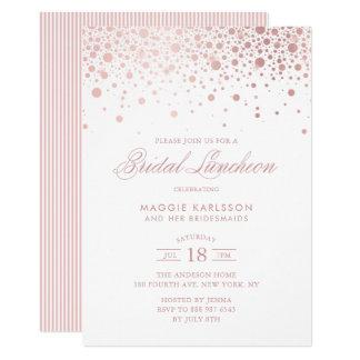 Rose Gold Foil Confetti Bridal Luncheon Invitation