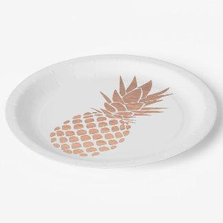 rose gold foil effect pineapple design paper plate
