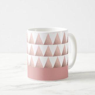 rose gold foil geometric triangles pattern coffee mug