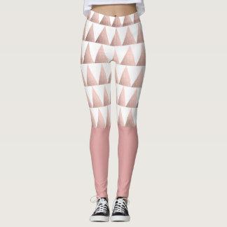 rose gold foil geometric triangles pattern leggings