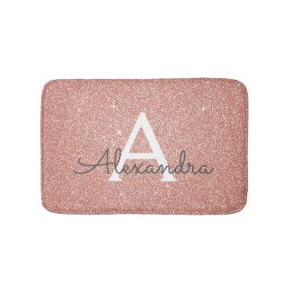 Rose Gold Foil Glitter Sparkle Monogram Bath Mat