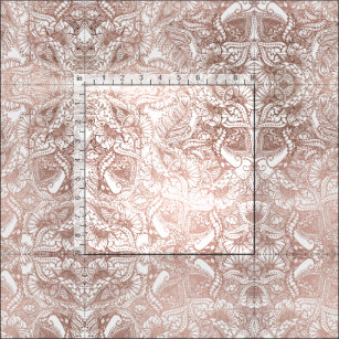 Rose gold foil hand drawn floral pattern girly fabric