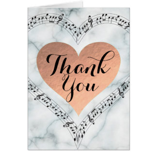 Rose Gold foil heart Thank you music on marble Card