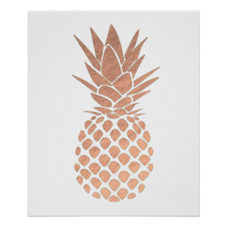 rose gold foil look pineapple poster