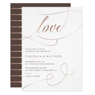 Rose Gold Foil Love Script Wedding Invitation