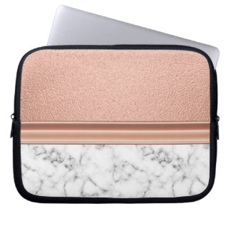 Rose Gold Foil on Marble Laptop Sleeve