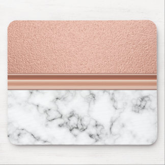 Rose Gold Foil on Marble Mouse Pad