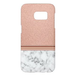 Rose Gold Foil on Marble Samsung Galaxy S7 Case