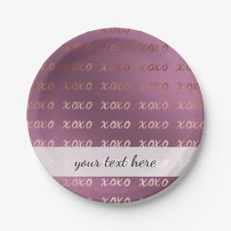 rose gold foil typography hugs and kisses xoxo 7 inch paper plate