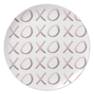 rose gold foil typography hugs and kisses xoxo plates